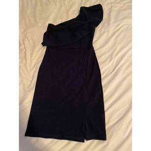 Misguided Navy Blue one shoulder Dress